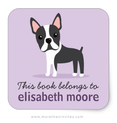 Boston terrier dog personalized bookplate book labels