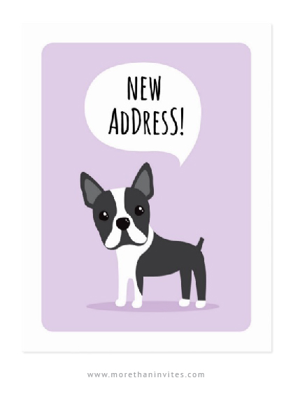 Boston terrier new address moving announcement postcards