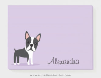 Boston terrier personalized name sticky notes for kids
