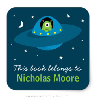 Cute alien in space book labels for kids