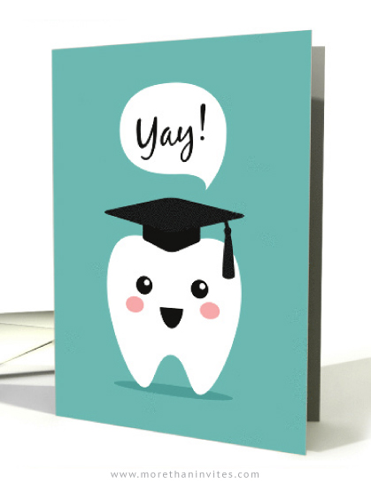 Cute dentist graduation congratulations card with kawaii tooth