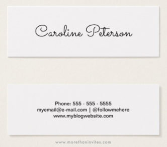 Cute skinny white business cards for women