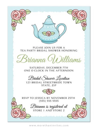 Cute tea party bridal shower invitations with romantic roses