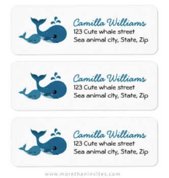 Cute whales return address labels