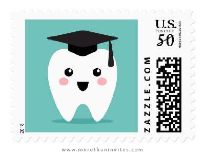 Dentist graduation postage stamps with cute tooth wearing a mortarboard hat