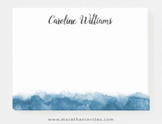Elegant blue watercolor border post-it notes with personalized name