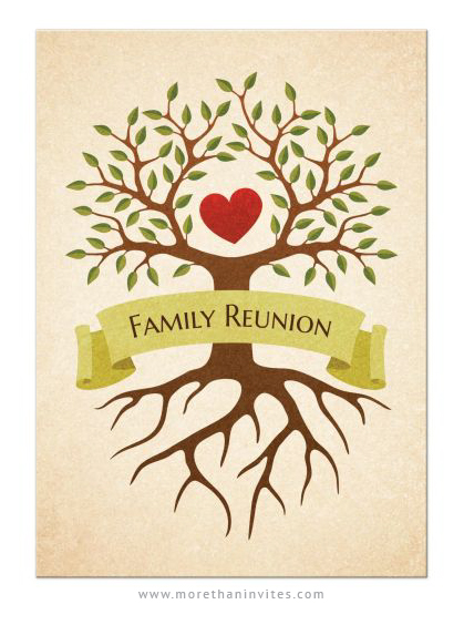 Family reunion invitations with tree and heart