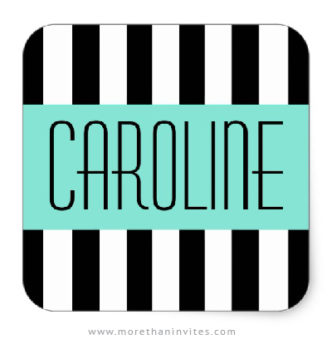 Personalized name stickers with fashionable stripes and aqua blue panel