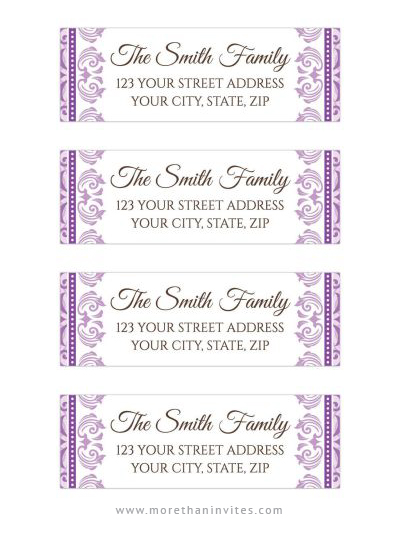First communion or baptism return address labels with ornate damask borders