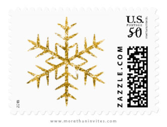 Golden glitter snowflake Christmas holiday postage stamps