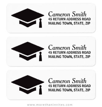Graduation return address labels with mortarboard hat