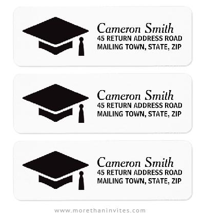 Graduation return address labels with mortarboard hat