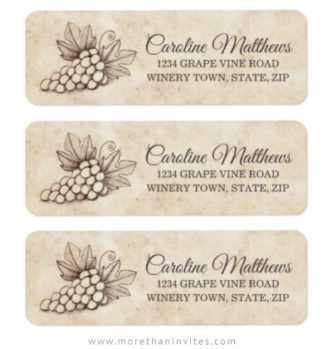 Elegant grapes on vintage parchment paper return labels