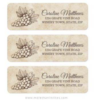 Elegant grapes on vintage parchment paper return labels