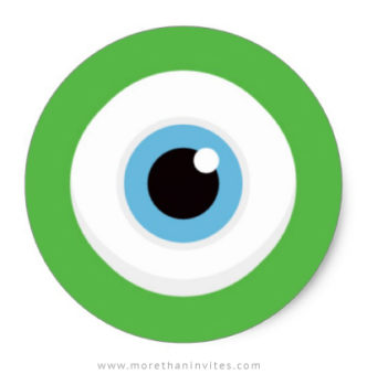 Green monster eye stickers