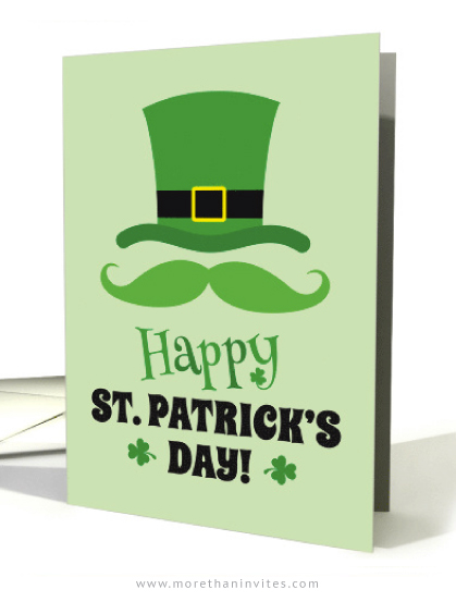 Happy St. Patrick's day card with leprechaun hat and green mustache-01