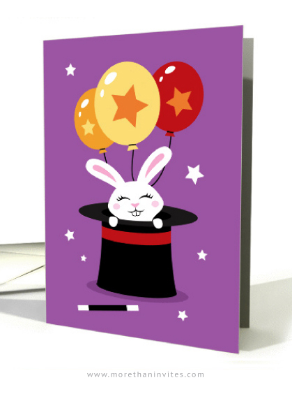 Happy birthday card for kids with rabbit in magicians hat