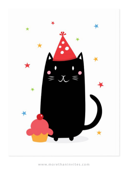 Happy birthday cat with cupcake and party hat postcard