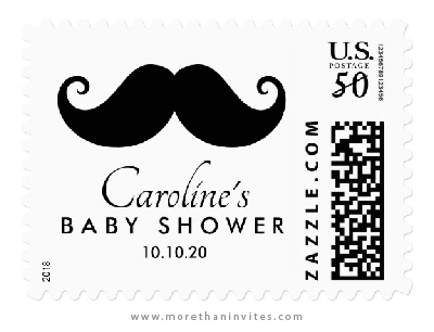 Little man mustache baby shower postage stamps