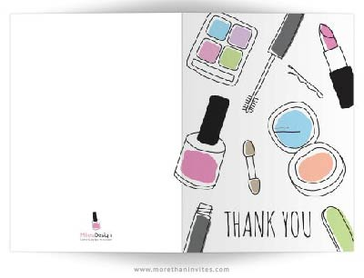 Makeup thank you card - hand drawn, doodle style