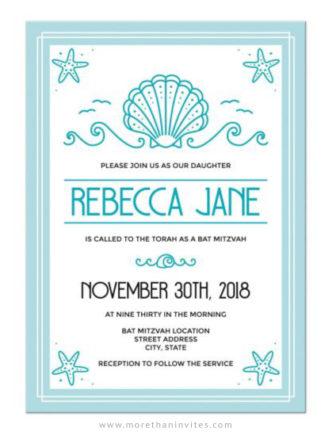 Modern beach bat mitzvah invitations, pale aqua blue