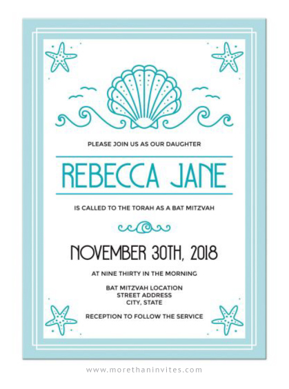 Modern beach bat mitzvah invitations, pale aqua blue
