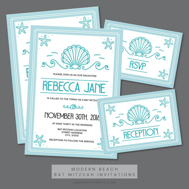 Modern beach bat mitzvah invitations with seashell and starfish