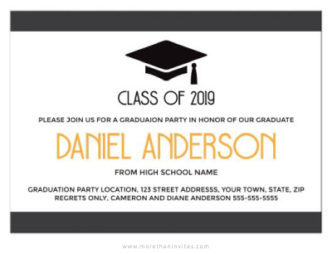Modern, elegant graduation invitation with mortarboard hat-graduation cap-01