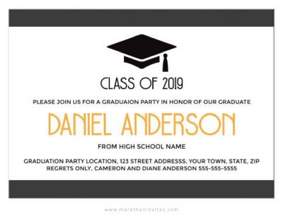 Modern, elegant graduation invitation with mortarboard hat-graduation cap-01