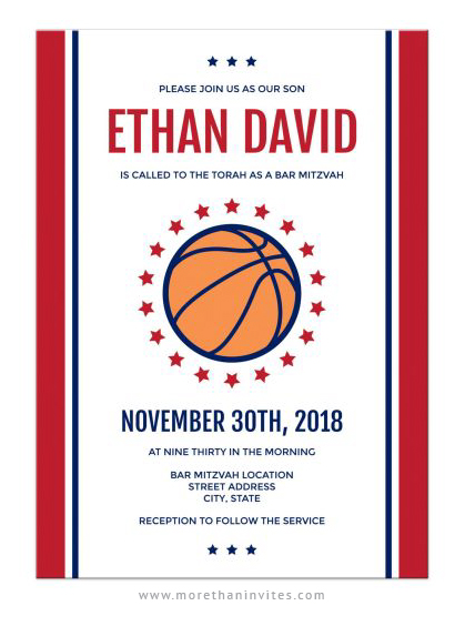 Modern basketball bar mitzvah invitations