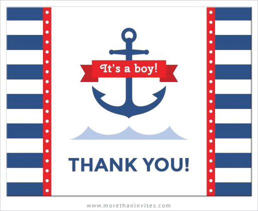 Nautical baby shower thank you note card with anchor, waves and stripes