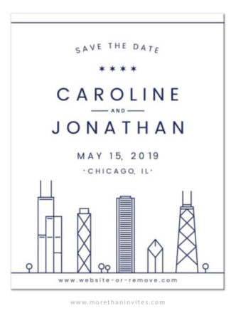 Navy blue Chicago skyline save the date announcements