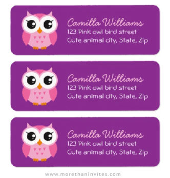 Pink owl return address labels with purple background