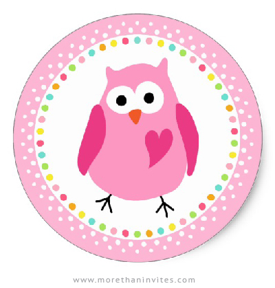 Pink owl stickers with colourful polka dot border