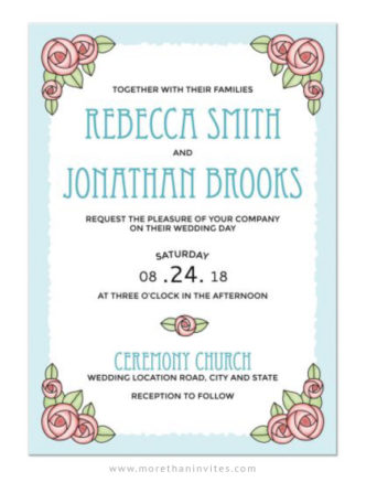 Pink rose wedding invitations