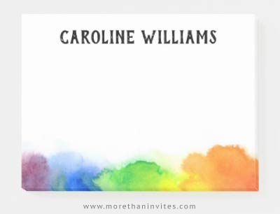 Rainbow watercolor border personalized name sticky notes for kids