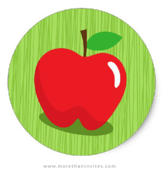Red apple stickers with green background