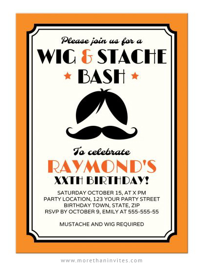 Retro hipster wig and mustache birthday party invitations