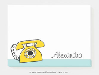 Retro yellow telephone personalized name post-it notes