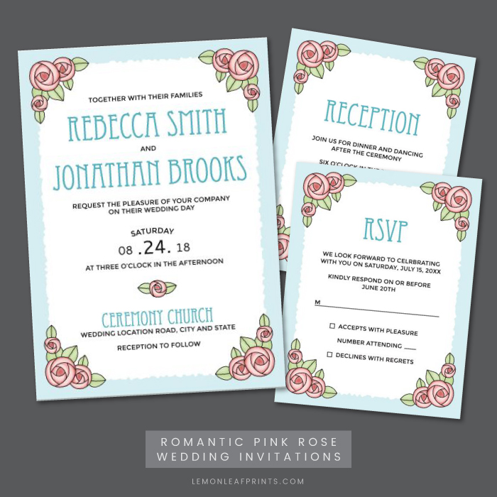 Pink rose wedding invitation, RSVP and reception card