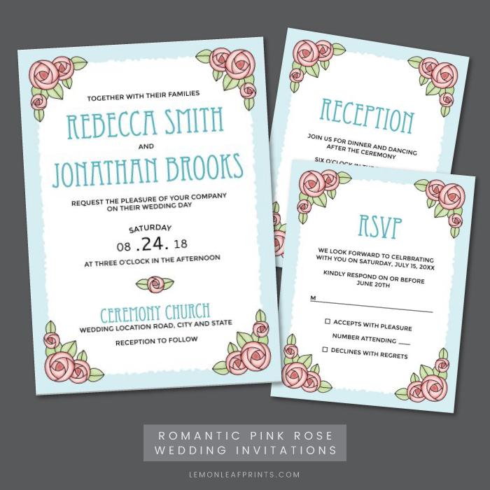 Pink rose wedding invitation, RSVP and reception card