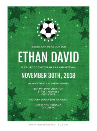 Soccer bar mitzvah invitations with green grunge stars and ball
