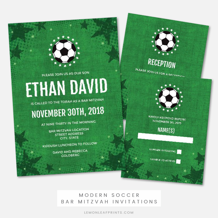 Soccer bar mitzvah invitation, RSVP card and reception card