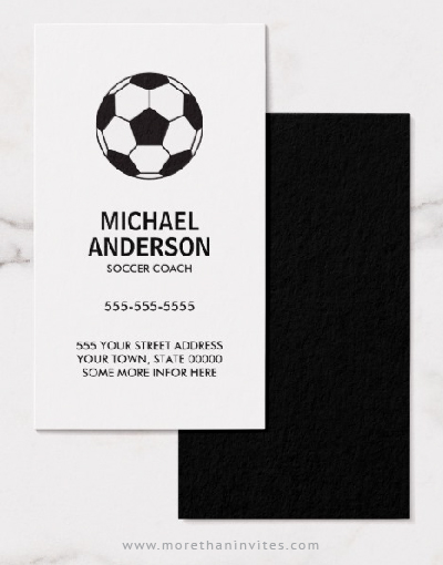 Soccer coach or player business cards