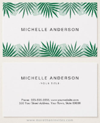 Tropical leaf border business cards