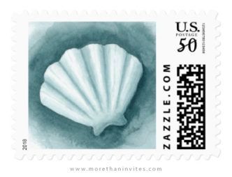 Watercolor seashell beach or under the sea wedding postage stamps