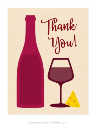 Wine and cheese thank you postcards