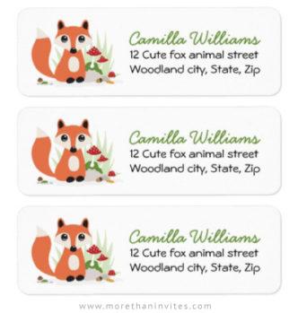 Woodland fox return address labels