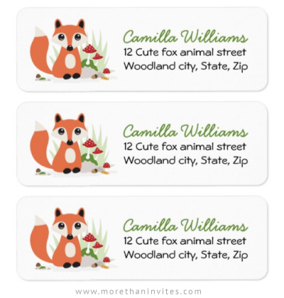 Woodland fox return address labels