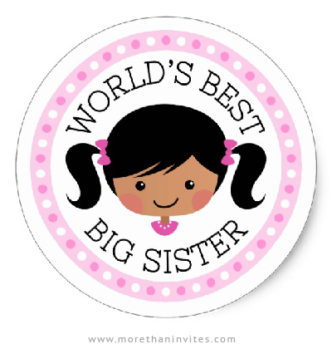 World's best sister stickers with African american or Asian girl